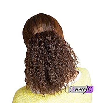Amazon Com Remeehi Natural Curly 100 Human Hair Bun Updo