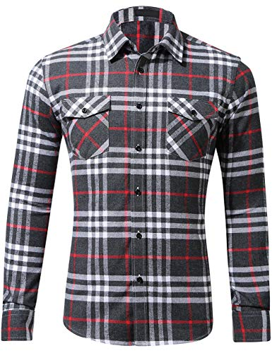 - DOKKIA Men's Dress Slim Fit Buffalo Plaid Checkered Long Sleeve Flannel Shirts (Grey Black Red White, Medium)