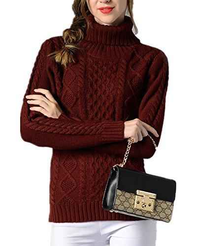 Cabled Sweater Coat - Sorrica Women Casual Warm Ribbed Cable Knit Turtleneck Long Sleeve Knitted Sweater Pullover (M, Wine Red)