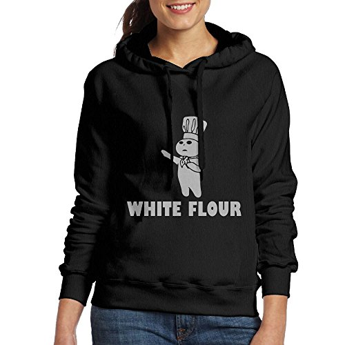 SmallTing Women's White Flour White Power Spoof Fashion Sports Black Hoody S (Shorts Board Blackhawks Chicago)