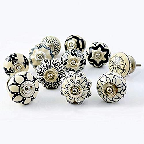 Pull Ceramic Knob - Artncraft Set of 10 Vintage Color Multi Designed Ceramic Cupboard Cabinet Door Knobs Drawer Pulls & Chrome Hardware 1 (Black & White)