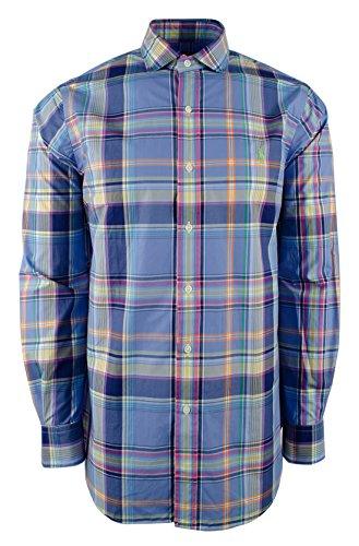 Polo Ralph Lauren Poplin Plaid Button Down Long Sleeve Shirt Blue/White - Tartan Ralph Lauren