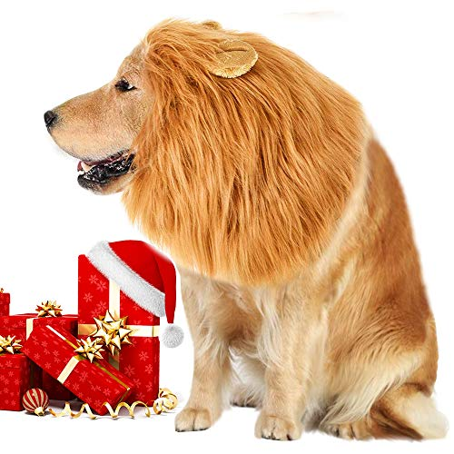(VIVREAL Lion Mane Costume for Dog - Lion Dog Costume Funny Adjustable Lion Wig Easy to Fit Medium to Large Sized Dog for Halloween Christmas Party with Ears,Large Dog Costume)