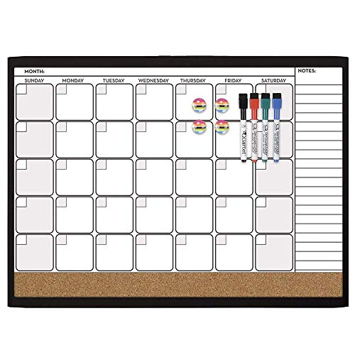 Quartet Combination Magnetic Whiteboard Calendar & Corkboard Value Pack, 17