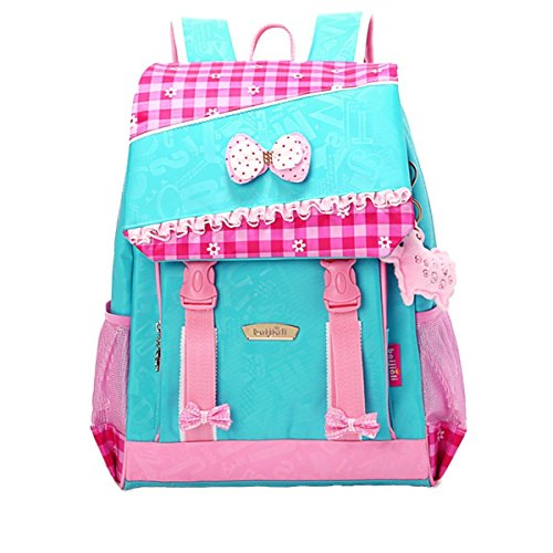 Moonwalk Light Cute Sweet Bow Princess Grid Primary School Backpacks Shoulders School Book Bag for Girls (Rose Grid+Blue-1)