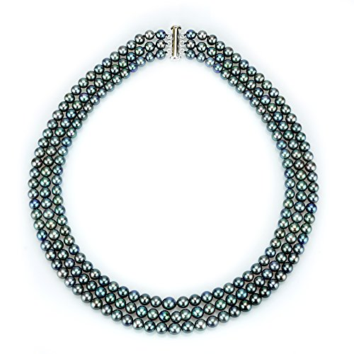 La Regis Jewelry .925 Sterling Silver 6.5-7mm Gunmetal Black Gray Freshwater Cultured Pearls 3-Row Necklace, 18""