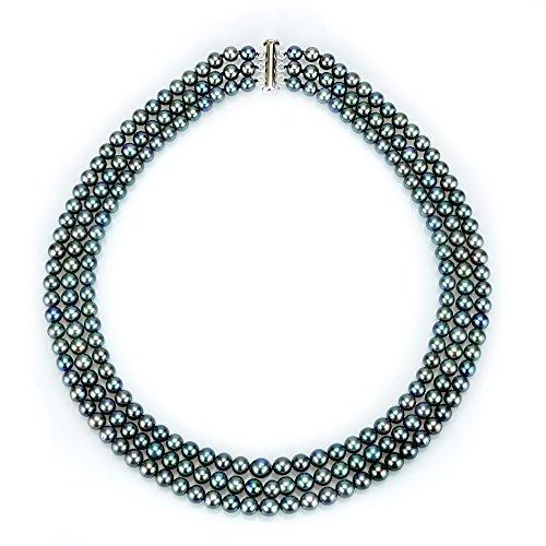 - La Regis Jewelry .925 Sterling Silver 6.5-7mm Gunmetal Black Gray Freshwater Cultured Pearls 3-Row Necklace, 18