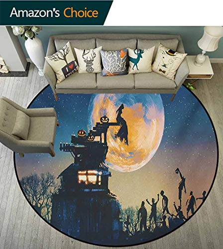 RUGSMAT Fantasy World Carpet Gray Round Area Rug,Dead Queen in Castle Zombies in Cemetery Love Affair Bridal Halloween Theme Pattern Floor Seat Pad Home Decorative Indoor,Round-63 Inch -