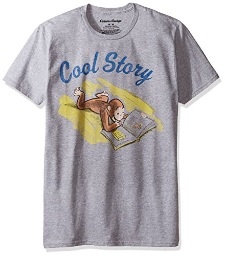 Curious George Men's Verbiage Short Sleeve Graphic T-Shirt, Heather Grey, X-Large
