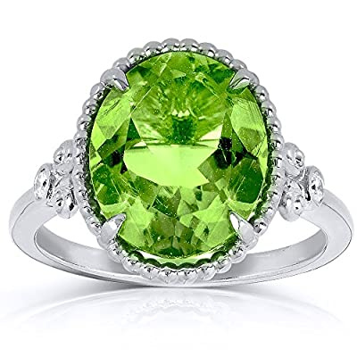 Oval Peridot and Diamond Ring 4 4/5 Carat (ctw) in Silver with 14k White Gold Plated Silver