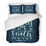 SanChic Duvet Cover Set Worry Ends When Faith Begins Bible Verse Hand Lettered Quote Modern Calligraphy Christian Decorative Bedding Set 2 Pillow Shams King Size