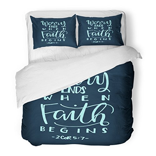 SanChic Duvet Cover Set Worry Ends When Faith Begins Bible Verse Hand Lettered Quote Modern Calligraphy Christian Decorative Bedding Set 2 Pillow Shams King Size by SanChic