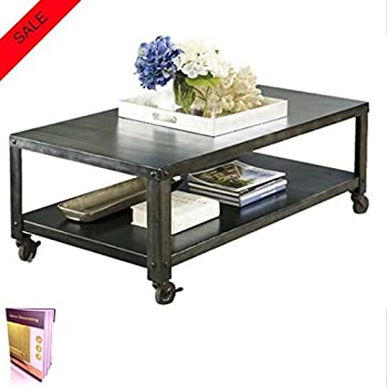 metal coffee table with wheels and bottom storage shelf durable table crafter from. Black Bedroom Furniture Sets. Home Design Ideas