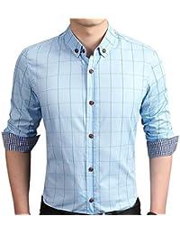 "<span class=""a-offscreen"">[Sponsored]</span>Men's Cotton Long Sleeve Plaid Slim Fit Button Down Dress Shirt"