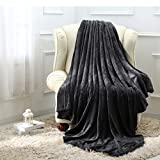 Moonen Flannel Throw and Blanket Luxurious Full Size Dark Grey Lightweight Plush Microfiber Fleece Comfy All Season Super Soft Cozy Blanket for Bed Couch and Gift Blankets (Charcoal, W60 x L80)