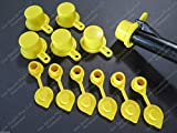 """6-Pack New Blitz Gas Can Style Aftermarket """"YELLOW SPOUT CAP"""" Works Great! Mr Yellow Cap replacement BONUS includes 6 FREE YELLOW AIR BREATHER VENT CAPS w/ Retaining Lip -EASY INSTALL-DRILL REQUIRED"""