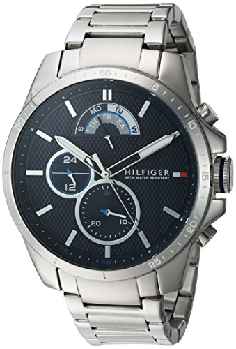 (Tommy Hilfiger Men's Cool Sport Quartz Watch with Stainless-Steel Strap, Silver, 21 (Model: 1791348))