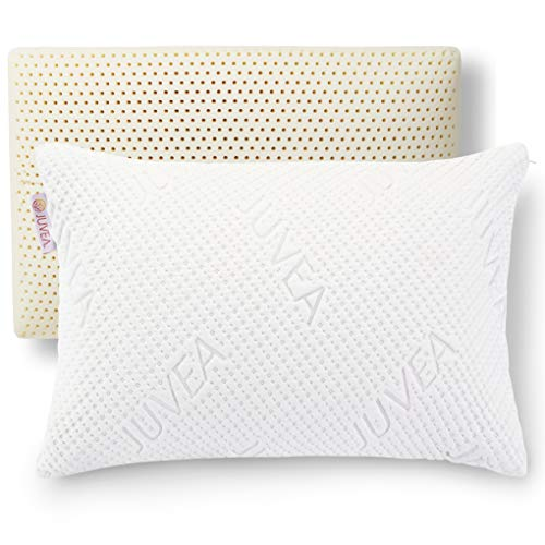 JUVEA 100% Natural, Talalay Latex Pillow, Absorbent, Cotton-Rich Cover, Best Sleeping Pillow to Support Head and Neck, Standard/Queen High Profile, Ideal for Side and Back Sleepers - Made in USA