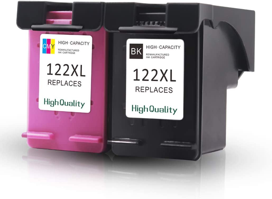 DeskJet 1000 1010 1050 1510 2050 2510 3050 Printers Ninjatoner Remanufactured Ink Cartridge Replacement for HP 122XL 122 XL Used in Officejet 4845 1 Black, 1 Color Envy 4500 5530