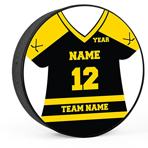 (Personalized Jersey Hockey Puck   Player & Team Hockey Award by ChalkTalk Sports   Black/Yellow)