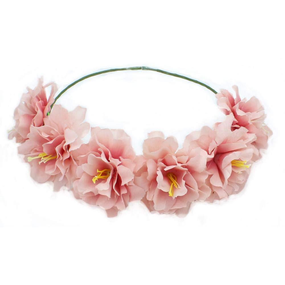 Qinlee Haarband mit Blumen Blumenkranz Blumen Stirnband Blumenkrone Boho Blumen Haarkranz Brautbrautjungfern Haarband f/ür Damen M/ädchen f/ür Hochzeit ROT