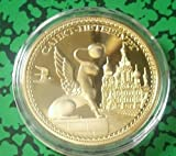 Russian Buildings  and  Places Russian Lion Gold Plated Challenge Art Coin