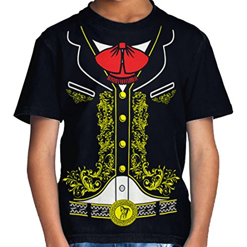 Viva Mexico - Toddler Kids Mexican Mariachi Charro Halloween Costume T-Shirt (X-Large 5/6, Black)]()