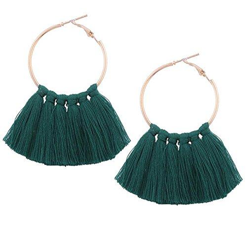 Round Circle Tassel Earrings Dark Green Tassel Earrings For Women Fashion Jewelry Drop Statement Earrings