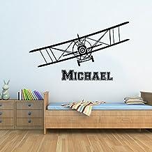 Airplane Wall Decals Custom Boys Name Personalized Name Biplane Nursery Kids Plane Gift Wall Vinyl Decal Sticker Bedroom Murals
