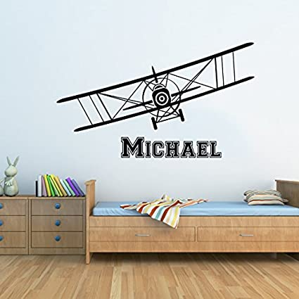 Airplane Wall Decals Custom Boys Name Personalized Name Biplane Nursery Kids Plane Gift Wall Vinyl Decal  sc 1 st  Amazon.com & Airplane Wall Decals Custom Boys Name Personalized Name Biplane ...
