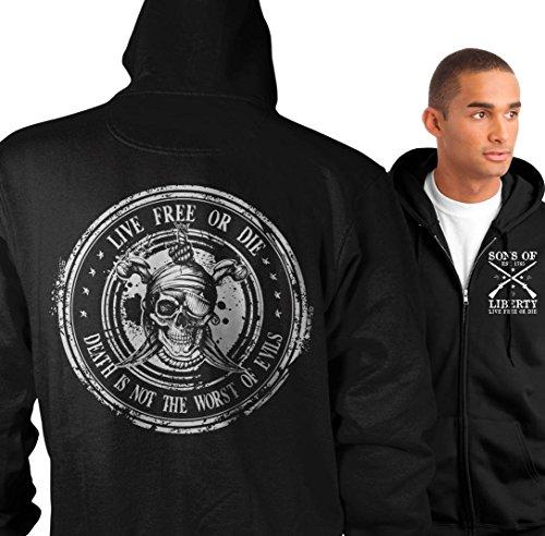 Die Zip Hoodie - Sons of Libery Zip Hoodie: Live Free Or Die: Death is not The Worst of e Blac.