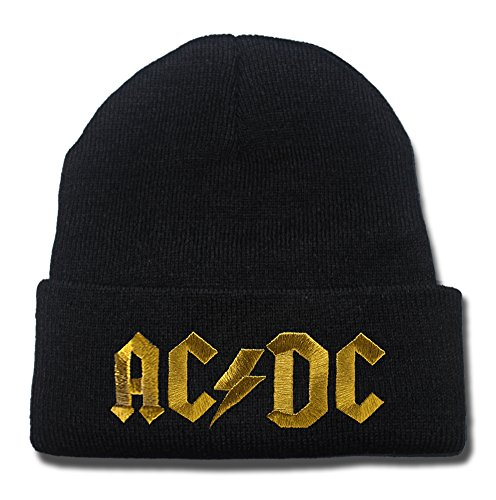 JRICK AC DC AC/DC ACDC Rock Band Logo Beanie Fashion Unisex Embroidery Beanies Skullies Knitted Hats Skull Caps - Black/Gold
