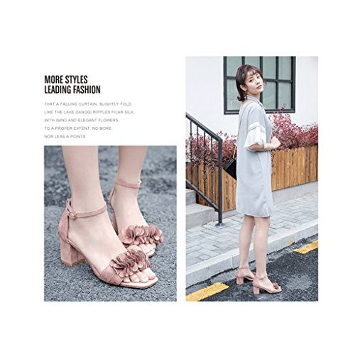 Summer Square Head With Sandals Fashion Flowers Suede High Heels Elegant Shoes (Color : Pink, Size : 34)