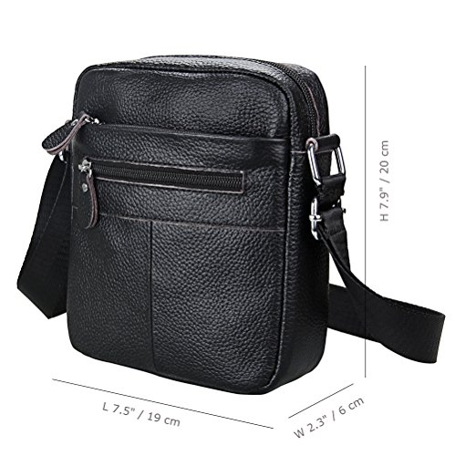 Hibate Leather Men's Small Messenger Satchel Shoulder Bags Crossbody Black Bag fC1Ufqw4