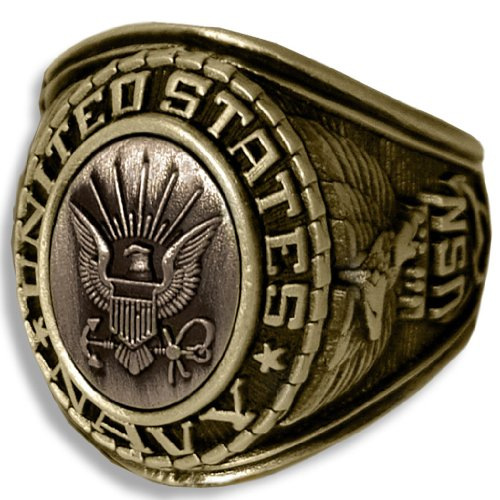 US Navy Insignia Ring - Bronze Colored Navy Veteran Ring - Military -