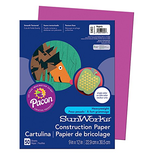 Pacon SunWorks Construction Paper, 9-Inches by 12-Inches, 50-Count, Magenta (6403)