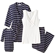 Everly Grey Women's Roxanne 5 Piece Maternity and Nursing PJ Pant Set with Robe and Matching Baby Gown, Navy, Large