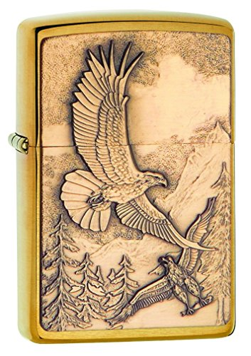 Zippo 20854 Where Eagles Dare Brushed Brass Pocket - Premium Is Where Outlets