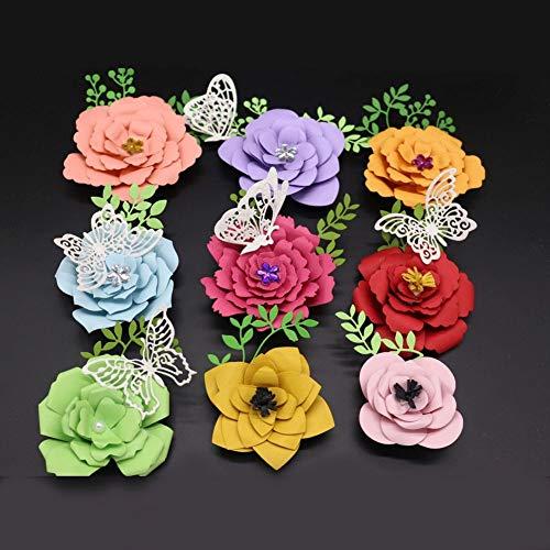 10.7x15.4CM 9 Different Flowers Petal Metal Cutting Dies Scrapbooking Dies Cutting Dies Cut New 2018 for DIY Gift Box ()