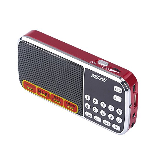 Mifine Mini Digital Portable Speaker Am/fm Pocket Radio Support USB Micro Tf/sd Card Mp3 Music Player, With USB Charging Cable, Emergency Flashlight Function, Fashionable (Q88 Red)