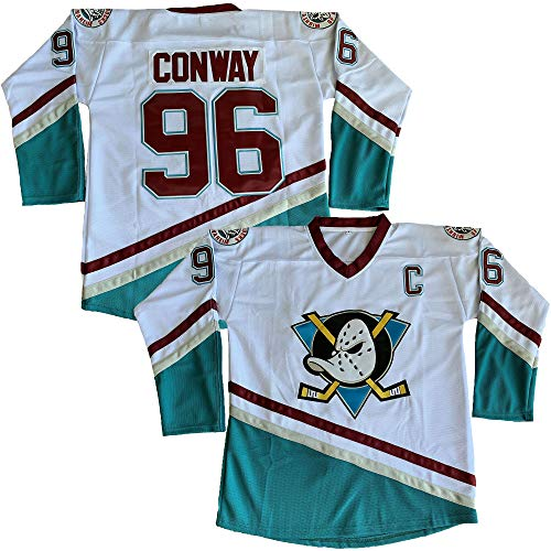 (Charlie Conway #96 Mighty Ducks Movie Hockey Jersey White Green (White, XX-Large))