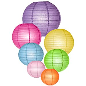 Round Chinese Paper Lanterns with LED Lights -- Assorted Colors Sizes--Fiesta/Cinco de Mayo/Birthday/Wedding/Ceiling Party Supplies Favors Hanging Decoration