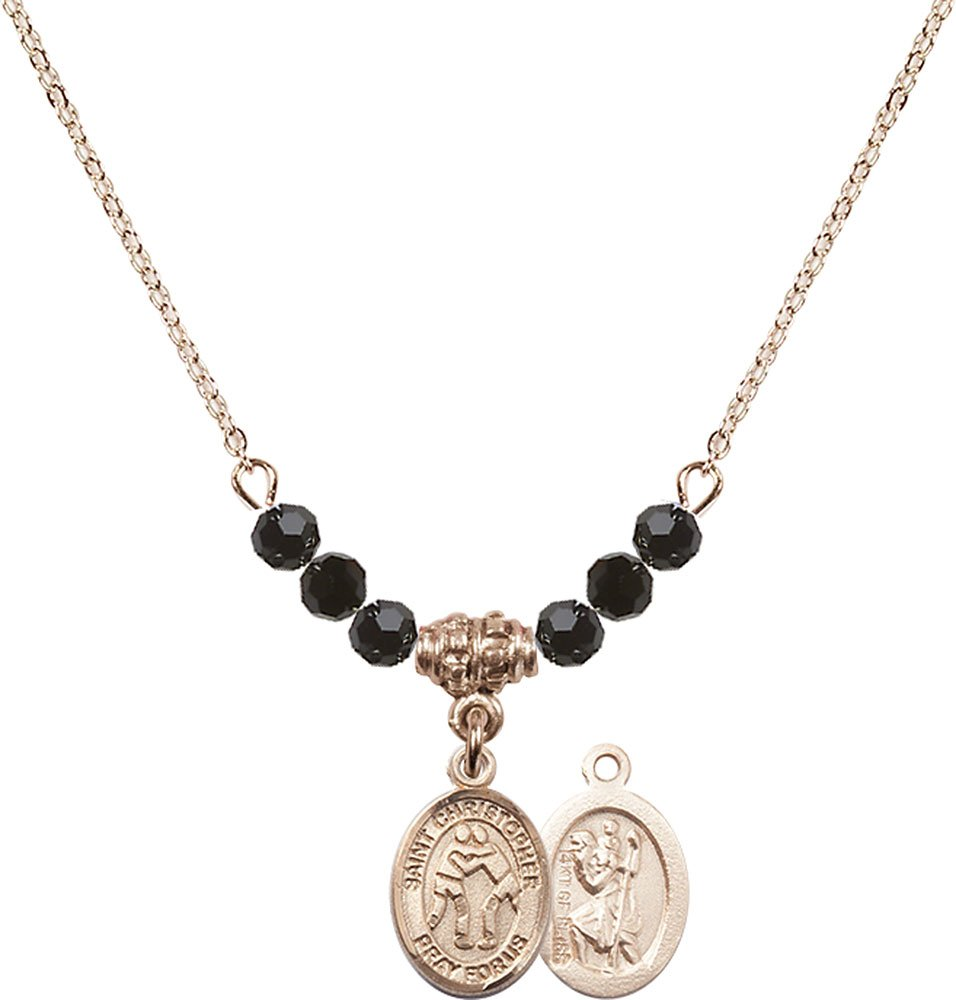 18-Inch Hamilton Gold Plated Necklace with 4mm Jet Birthstone Beads and Gold Filled Saint Christopher/Wrestling Charm.