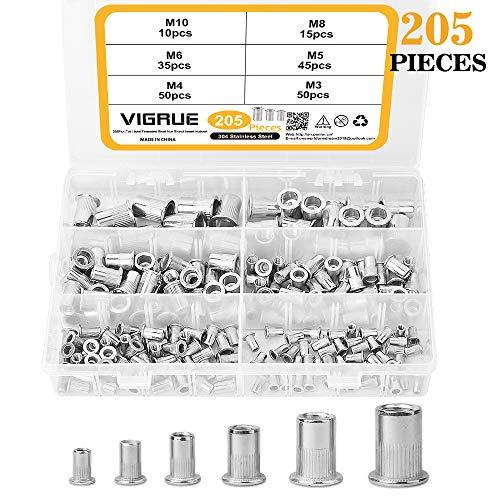 VIGRUE 205PCS 304 Stainless Steel Rivet Nut Nutserts Assort Set Flat Head Threaded Insert Rivet Nuts Assortment Kit(M3| M4| M5| M6| M8| M10)
