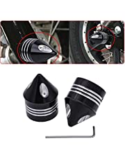 TUINCYN Motorcycle Aluminum Front Axle Cover Cap Nut Bolt Decorative Hardware Kit for Harley Dyna Softail Sportster Touring Road King FXD FXST FLHT 883 1200 XL (1 pair)