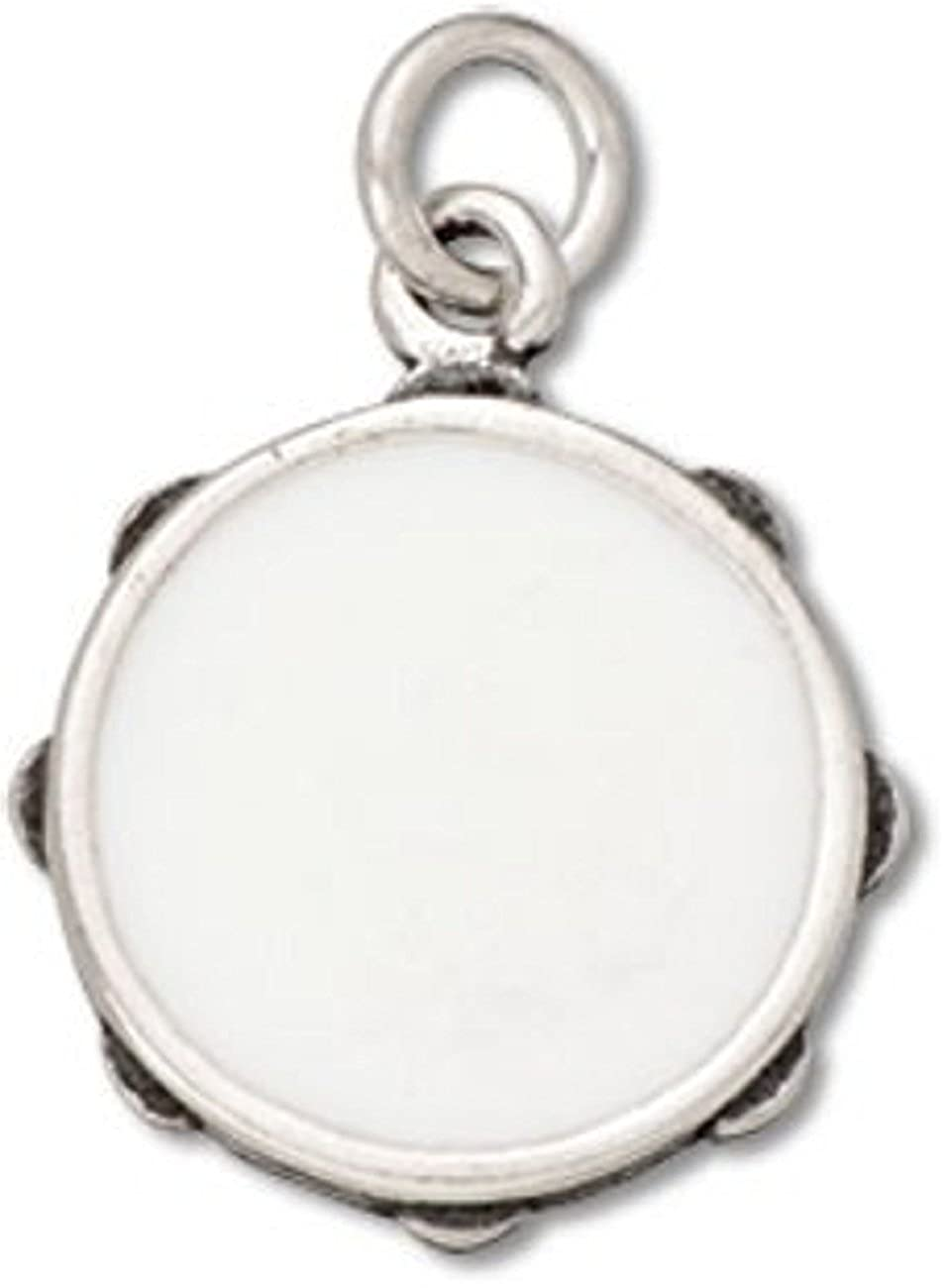 Sterling Silver 3D Musical Instrument White Enameled Tambourine Charm