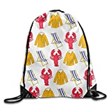 Lobster Beach Chair Coat Drawstring Bags Portable Backpack Travel Sport Gym Bag Yoga Runner Daypack Shoe Bags