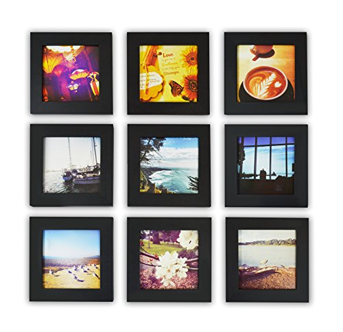 Golden State Art, Smartphone Instagram Frames Collection, Set of 9, 4x4-inch Square Photo Wood Frames, Black  wall art set of 9 | Contemporary Metal Wall Art – Set of 9 Made out of Aluminum 51EKh9f9 wL