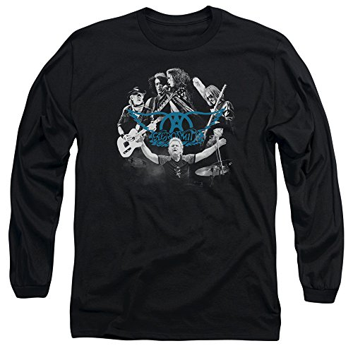 hombre larga manga Aerosmith N para de Round Rock Negro Camiseta 1q18wRZO