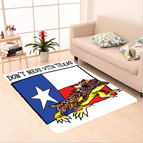"""Nalahome Custom carpet Illustration Of Cute Warrior Horned Toad Standing For Texas City American Dream Wild Home Multi area rugs for Living Dining Room Bedroom Hallway Office Carpet (22""""x60"""")"""